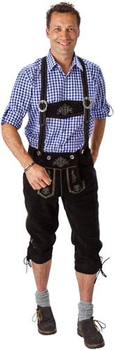 Heren Lederhose Lang Luxe Zwart (rundleer)
