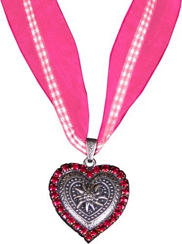 Halsketting Hartje met Edelweiss Roze (strass)