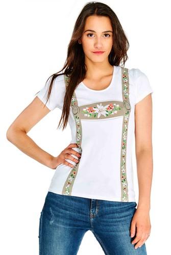 Witte Tiroler Dames T-shirt (met Strass)