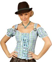 Dames Tiroler Blouse Claire Blauw/Groen