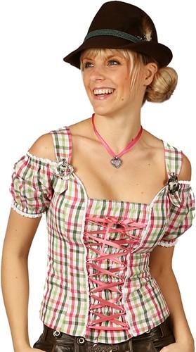 Dames Tiroler Blouse Claire Pink/Groen