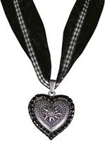 Halsketting Hartje met Edelweiss Zwart (strass)-2