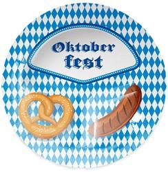 Bordjes (8st) Oktoberfest Pretzel & Worst 23cm