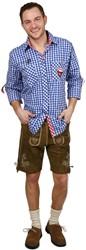 Luxe Slim-Fit Trachtenhemd Blauw/Rood