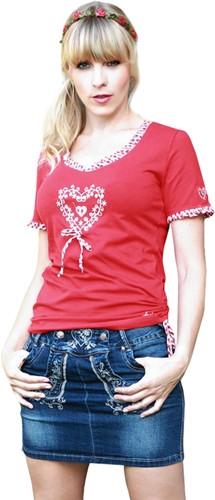 Dames Trachten T-Shirt Rood met Hartje