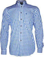 Luxe Tiroler Trachtenhemd Blauw/Wit (100% katoen)
