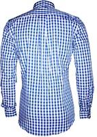 Luxe Tiroler Trachtenhemd Blauw/Wit (100% katoen)-2