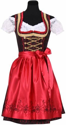 Luxe Dirndl Franziska (Rood-Zwart)