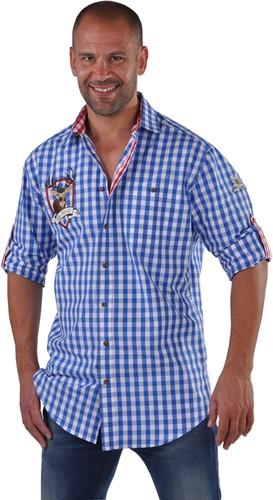 Blauw/Wit Tiroler Overhemd Hirsch (100% katoen)