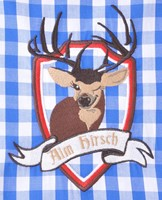 Tiroler Overhemd Blauw/Wit Hirsch (100% katoen) -2