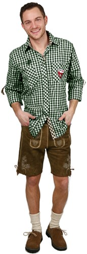 Luxe Slim-Fit Trachtenhemd Groen/Bruin