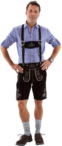 Heren Lederhose Kort Luxe Zwart (rundleer)