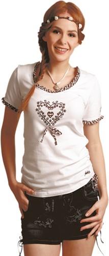 Dames Trachten T-Shirt Wit met Hartje