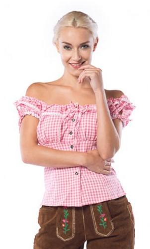 Tiroler Damesblouse Liesl Pink/Wit