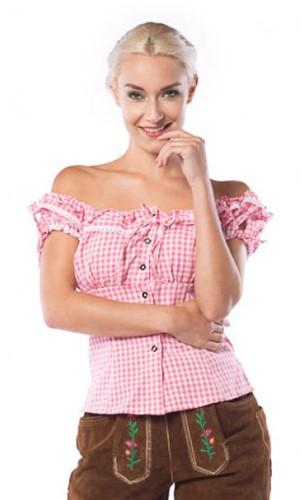 Tiroler Damesblouse Liesl Pink/Wit