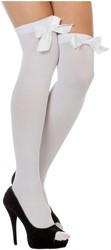 Witte Overknee Kousen met Witte Strik