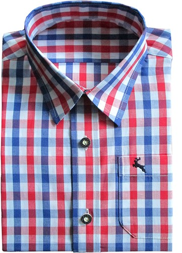 Trachtenhemd Rood/Wit/Blauw (100% katoen)