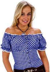 Carmen Blouse Blauw/Wit (100% katoen)