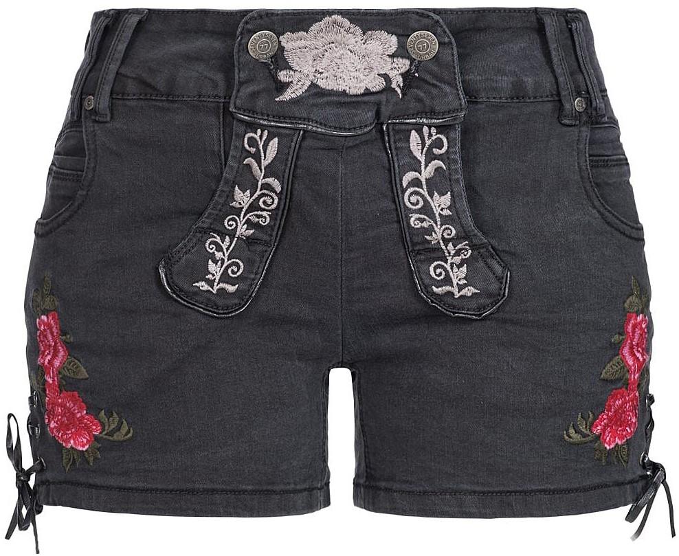 25a2018064ed9d Zwarte Tiroler Dames Trachten Jeans (kort)