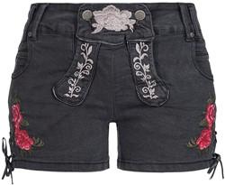 Zwarte Tiroler Dames Trachten Jeans (kort)
