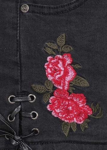 Trachten Jeans Kort Zwart voor dames (detail)