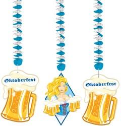 Hangdecoratie Oktoberfest Bierpullen (3 delig)