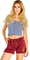 Trachten Jeans Kort Wijnrood voor dames (model)
