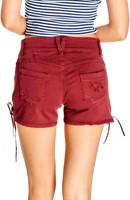 Trachten Jeans Kort Wijnrood voor dames (model achterkant)