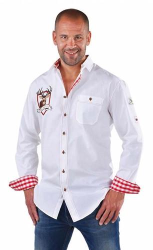 Tiroler Overhemd Wit Hirsch (100% katoen)