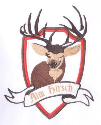 Tiroler Overhemd Wit Hirsch (100% katoen) -2