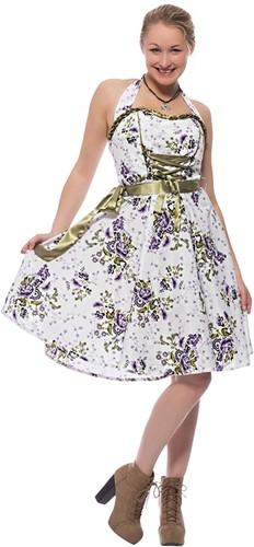 Dirndl Paarse Bloemen 60cm Luxe 2dlg. (100% Katoen)!