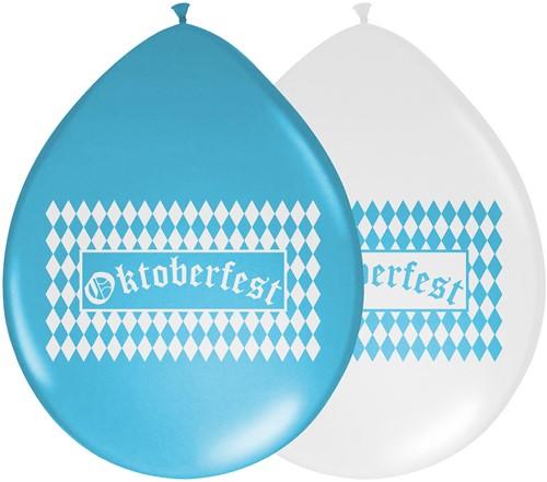 Oktoberfest Ballonnen Blauw-Wit 8st.