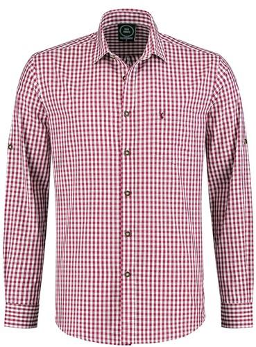 Luxe Trachtenhemd Wijnrood/Wit (100% katoen)