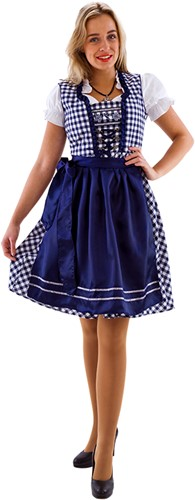 Dirndl Blauw-Wit 60cm Luxe 3dlg. (100% Katoen)
