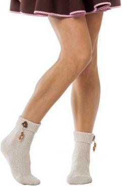 Ecru Tiroler Sokken met Hartjes