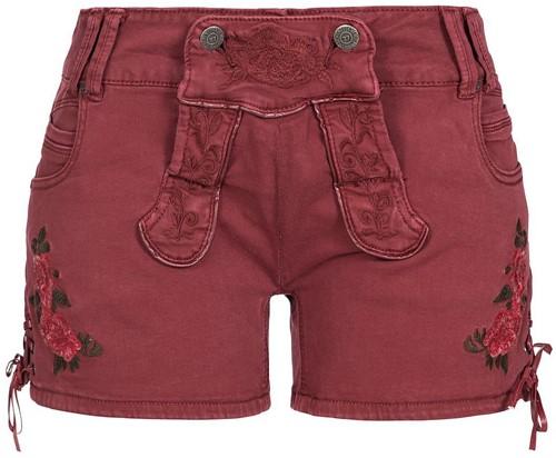 Wijnrode Tiroler Dames Trachten Jeans (kort)