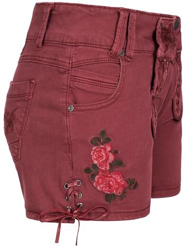 Wijnrode Tiroler Dames Trachten Jeans (kort)-2
