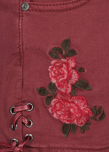 Trachten Jeans Kort Wijnrood voor dames (detail)