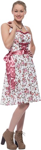 Dirndl Roze Bloemen 60cm Luxe 2dlg. (100% Katoen)