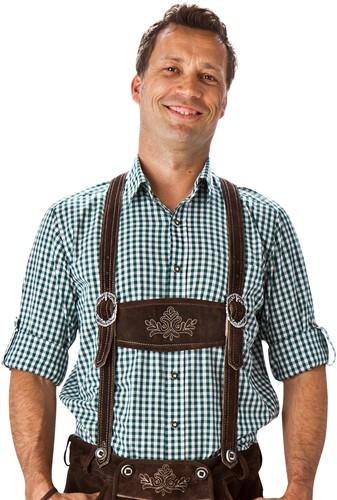 Trachtenhemd Donkergroen/Wit (100% katoen)