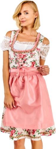 Luxe Roze Dirndl Lotta met Bloemen (3 delig)