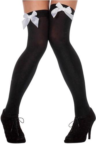 Zwarte Overknee Kousen met Witte Strik