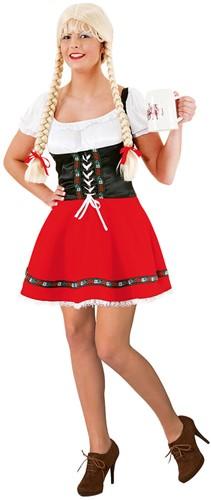 Rood-Zwarte Sexy Dirndl Jurk