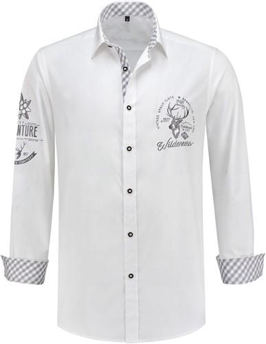 Luxe Trachtenhemd Grijs/Wit Luxe (100% katoen)