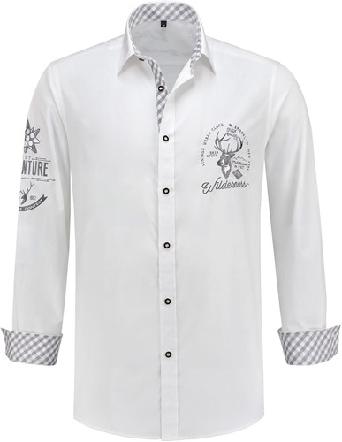 Tiroler Trachtenhemd Grijs/Wit Luxe (100% kat)