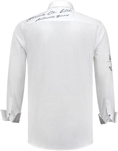 Tiroler Trachtenhemd Grijs/Wit Luxe (100% kat)  -2