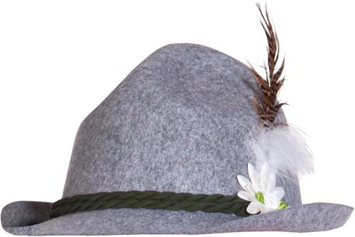 Tirolerhoed Ewald Grijs (met bloem)