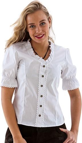 Witte Tiroler Dames Trachtenblouse (100% Katoen)
