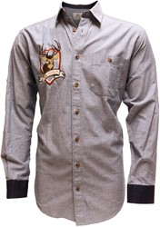 Denim Blauwe Tiroler Overhemd (100% katoen)