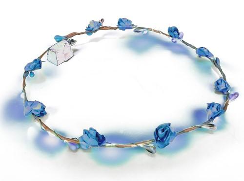 Haarband Bloemen Blauw met LED-lampjes